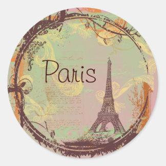 Etiquetas de los pegatinas de la torre Eiffel de Etiqueta Redonda