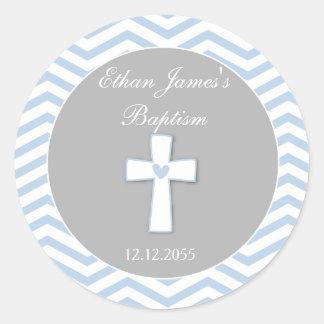 Etiquetas de los pegatinas del favor del bautismo pegatina redonda
