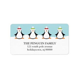 Etiquetas de los pingüinos del navidad etiqueta de dirección