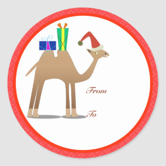 Etiquetas de los regalos del navidad: Camello Pegatina Redonda