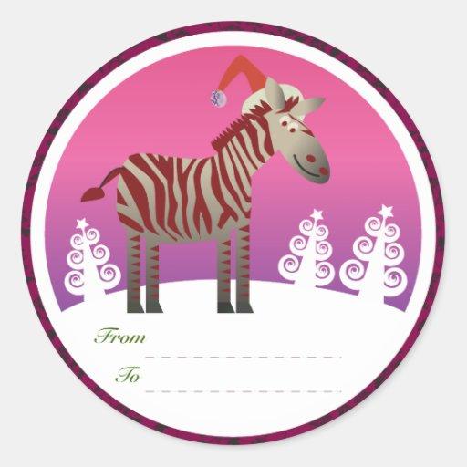 Etiquetas de los regalos del navidad: Cebra Etiqueta Redonda