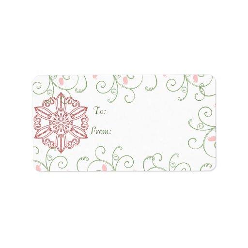 Etiquetas de los regalos del navidad del remolino  etiquetas de dirección