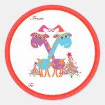 Etiquetas de los regalos del navidad: Dos jirafas Etiquetas Redondas
