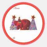 Etiquetas de los regalos del navidad: Elefante Etiqueta Redonda