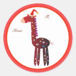 Etiquetas de los regalos del navidad: Jirafa roja Pegatina Redonda