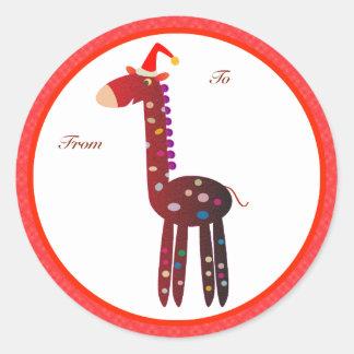 Etiquetas de los regalos del navidad: Jirafa roja Pegatinas Redondas