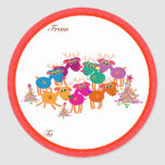 Etiquetas de los regalos del navidad: siete pegatina redonda