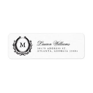 Etiquetas de lujo clásicas del remite del monogram etiquetas de remite