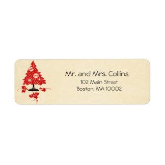 Etiquetas de lujo del árbol de navidad etiqueta de remitente
