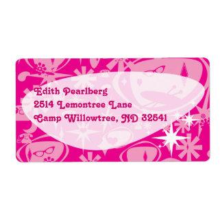 Etiquetas de lujo ostentosas del rosa etiquetas de envío