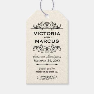Etiquetas de marfil del favor del monograma de la etiquetas para regalos