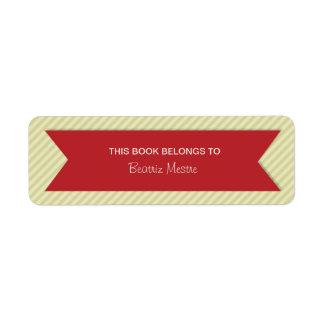 Etiquetas de moda de los Bookplates de las rayas Etiqueta De Remite
