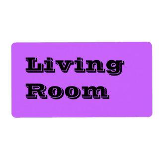 Etiquetas de mudanza de la sala de estar en púrpur etiquetas de envío