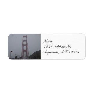Etiquetas de niebla del remite de puente Golden Ga Etiqueta De Remite