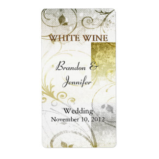 Etiquetas de oro apenadas del vino del boda del Fl Etiquetas De Envío