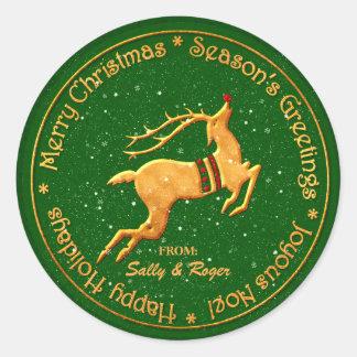 Etiquetas de oro del regalo del navidad del reno pegatina redonda