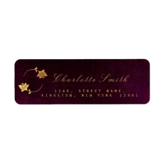 Etiquetas de oro del remite de la hoja del ciruelo etiqueta de remite
