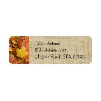 Etiquetas de oro del remite de las hojas de la caí etiqueta de remite