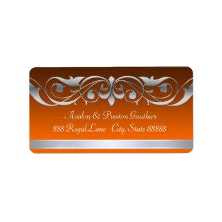 Etiquetas de plata anaranjadas de la grande etiquetas de dirección