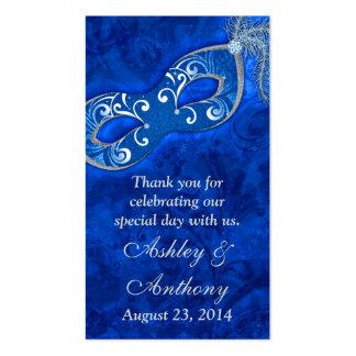 Etiquetas de plata azules del favor del boda de la tarjetas de visita