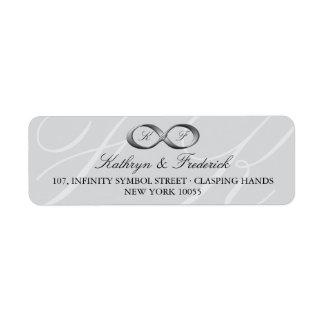 Etiquetas de plata del boda del corchete de la man etiquetas de remite