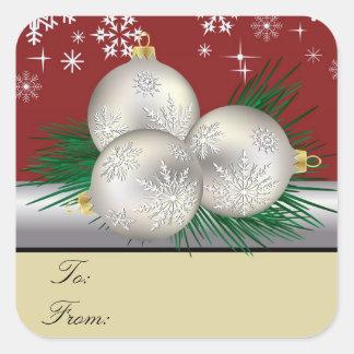 Etiquetas de plata del regalo del trío pegatina cuadrada