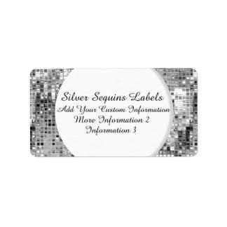 Etiquetas de plata del remite de las lentejuelas etiquetas de dirección