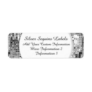 Etiquetas de plata del remite de las lentejuelas etiquetas de remite