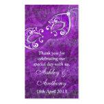 Etiquetas de plata púrpuras del favor del boda de  plantillas de tarjetas de visita