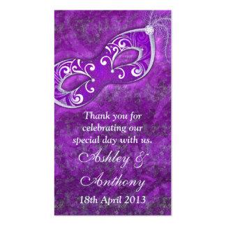 Etiquetas de plata púrpuras del favor del boda de  tarjetas de visita