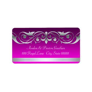 Etiquetas de plata rosadas cristalinas de la grand etiqueta de dirección
