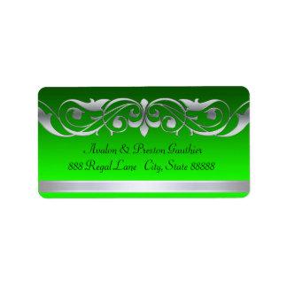 Etiquetas de plata verdes de la grande duquesa dir etiqueta de dirección