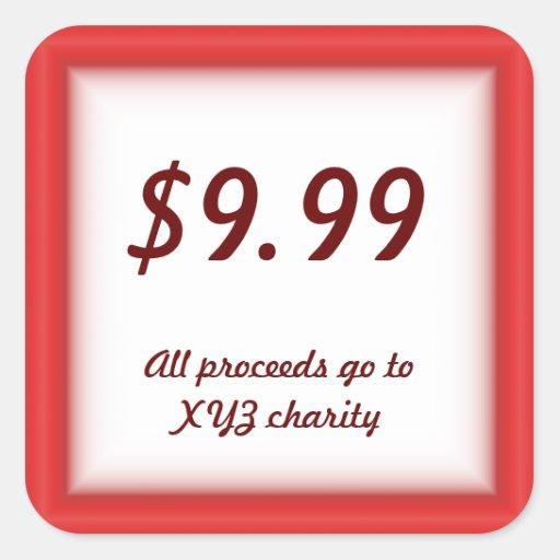Etiquetas de precio de la venta y del mercadillo calcomanía cuadrada personalizada
