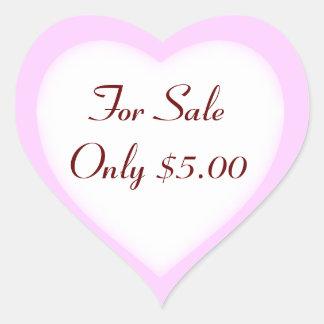 Etiquetas de precio de la venta y del mercadillo pegatina en forma de corazón