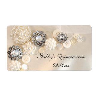 Etiquetas de Quinceañera de los botones de la perl Etiqueta De Envío