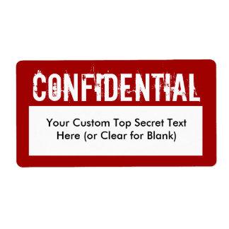 Etiquetas de relleno confidenciales del estilo bla etiqueta de envío