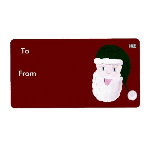 Etiquetas de risa del regalo de Santa (verde) Etiqueta De Envío