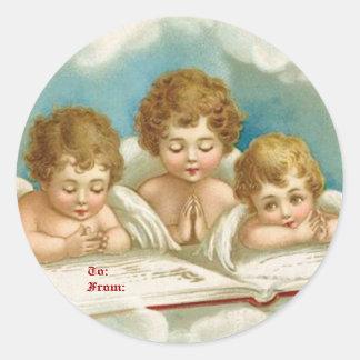 Etiquetas de rogación lindas del angelsgift del pegatina redonda