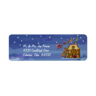 Etiquetas de un de navidad remite de la noche etiqueta de remitente