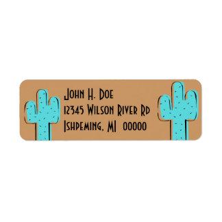 Etiquetas de vuelta del Addr de Brown del cactus y Etiqueta De Remite