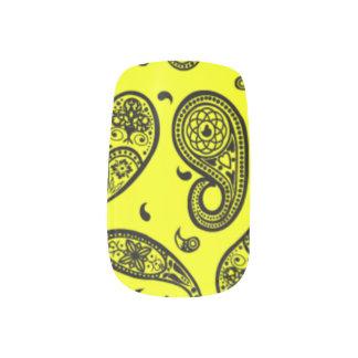 Etiquetas del arte del clavo, amarillo soleado arte para uñas