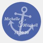 Etiquetas del boda del ancla del barco (azules etiqueta redonda