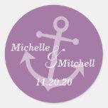 Etiquetas del boda del ancla del barco (púrpura de etiquetas redondas