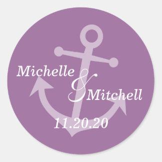 Etiquetas del boda del ancla del barco (púrpura de pegatina redonda