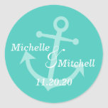 Etiquetas del boda del ancla del barco (trullo) pegatinas redondas