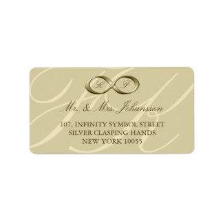 Etiquetas del boda del corchete de la mano del inf etiqueta de dirección