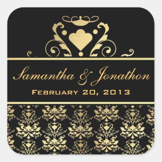 Etiquetas del boda del damasco del negro y del oro pegatinas cuadradases personalizadas