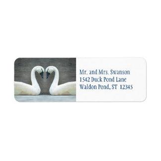 Etiquetas del boda del país del cisne etiquetas de remite