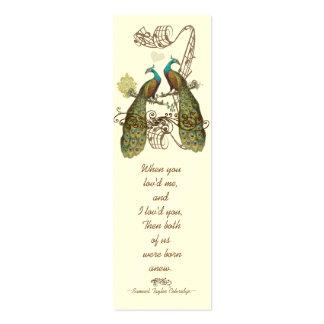 Etiquetas del boda del pavo real del pájaro del vi plantilla de tarjeta de visita