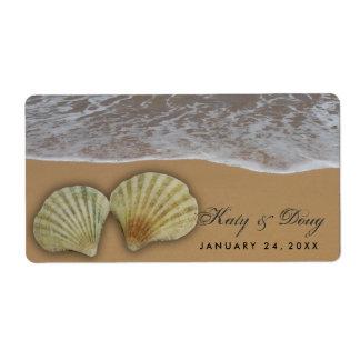 Etiquetas del boda del Seashell con la playa y la Etiqueta De Envío
